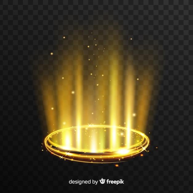 Effet portail de lumière dorée avec fond transparent Vecteur gratuit