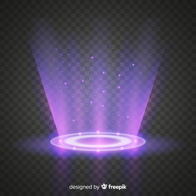 Effet portail lumineux avec fond transparent Vecteur gratuit