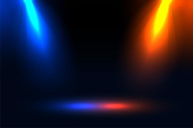 Effet De Projecteur De Mise Au Point Bleu Et Orange Vecteur gratuit
