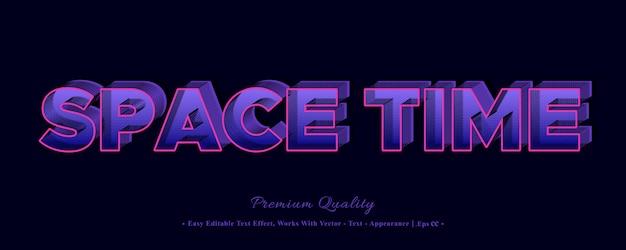 Effet De Style De Police Espace Temps 3d Vecteur Premium