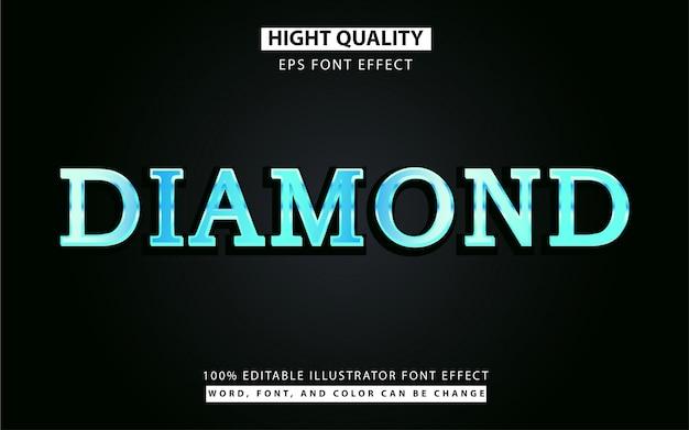 Effet De Style De Texte Diamant Bleu Vecteur Premium