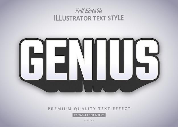 Effet De Style De Texte Ombré Gras Genius Vecteur Premium