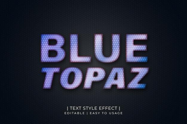 Effet De Style De Texte Topaze Bleue Avec Texture Diamant Et Dégradé Bleu Vecteur Premium