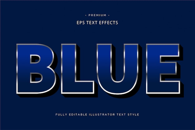 Effet De Texte 3d Bleu Vecteur Premium