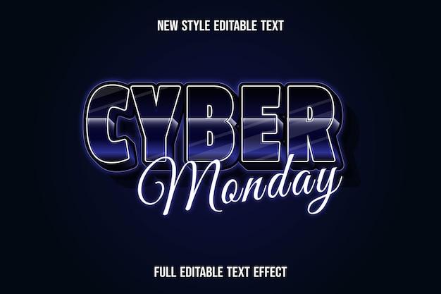 Effet De Texte 3d Cyber Lundi Couleur Bleu Foncé Et Noir Vecteur Premium