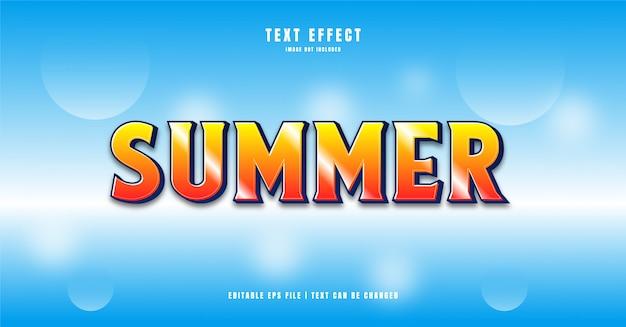 Effet De Texte 3d D'été Vecteur Premium