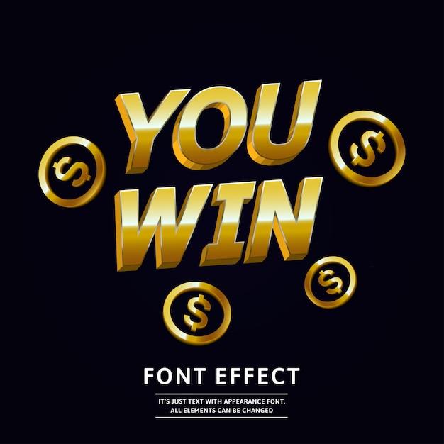 Effet de texte 3d gold win pour la conception de la célébration Vecteur Premium