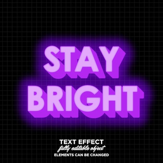 Effet de texte 3d lumineux Vecteur Premium