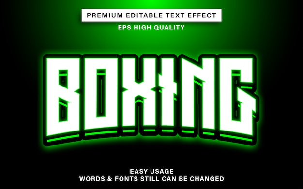 Effet De Texte De Boxe Esports Vecteur Premium
