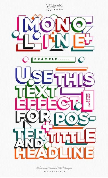 Effet De Texte Coloré Mono Ligne Vecteur Premium