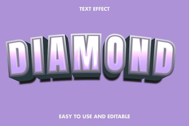 Effet De Texte En Diamant. Style De Police Modifiable. Vecteur Premium