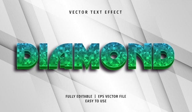 Effet De Texte En Diamant, Style De Texte Modifiable Vecteur Premium