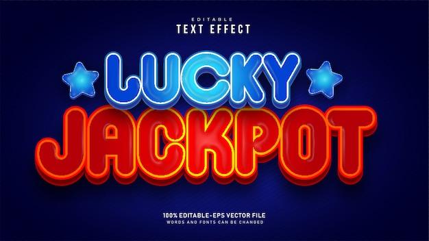 Effet De Texte Double Lucky Jackpot Vecteur Premium