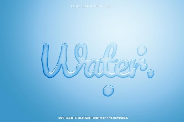 Effet De Texte D'eau Transparent Modifiable Vecteur Premium