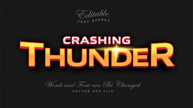 Effet De Texte Gras Crashing Thunder Vecteur gratuit