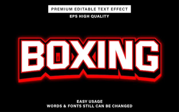 Effet De Texte Modifiable De Boxe Vecteur Premium