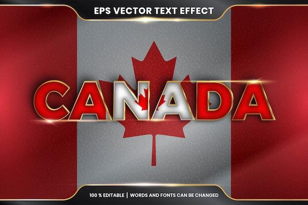 Effet De Texte Modifiable - Le Canada Avec Son Drapeau National Vecteur Premium