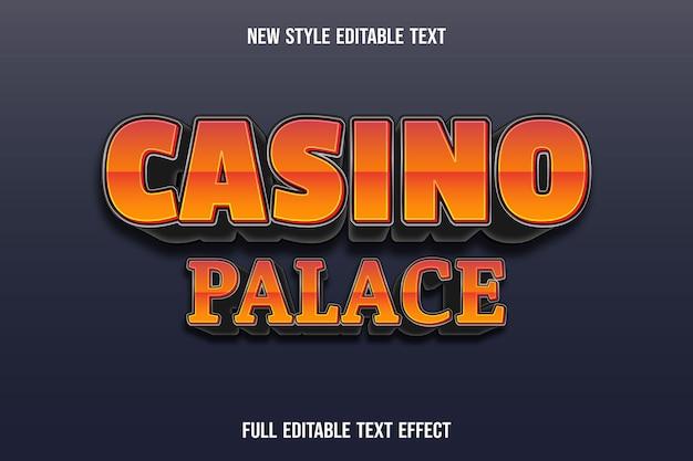 Effet De Texte Modifiable Casino Palace Couleur Orange Et Noir Vecteur Premium