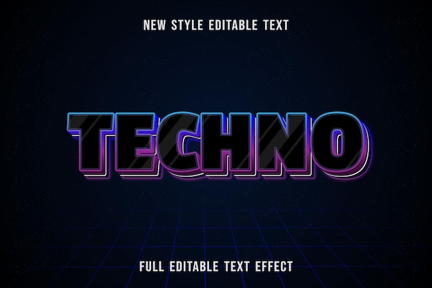 Effet De Texte Modifiable Couleur Techno Noir Et Bleu Violet Vecteur Premium