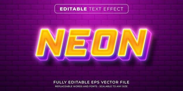 Effet De Texte Modifiable Dans Un Style Néon Intense Vecteur Premium