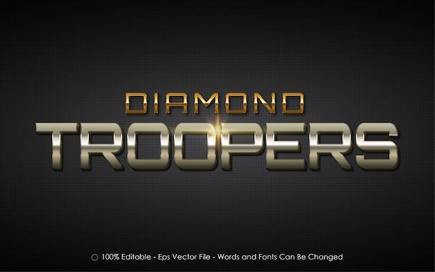 Effet De Texte Modifiable, Illustrations De Style Diamond Troopers Vecteur Premium