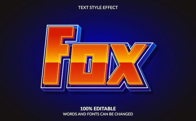 Effet De Texte Modifiable, Style De Texte Fox Vecteur Premium