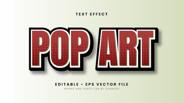 Effet De Texte Pop Art Rouge Vecteur Premium