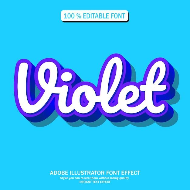 Effet de texte pour futuriste cool avec la couleur violette Vecteur Premium