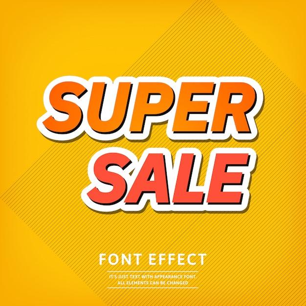 Effet de texte pour le modèle bannière super vente. fond clair Vecteur Premium