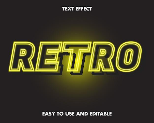 Effet De Texte Rétro Néon. Vecteur Premium