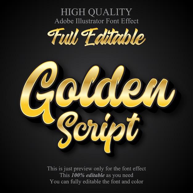 Effet de texte de style graphique éditable de script d'or de luxe Vecteur Premium