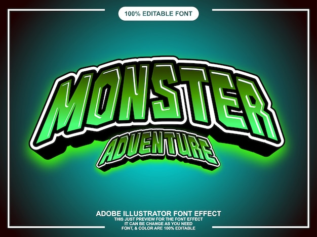 Effet de texte de style graphique modifiable monstre vert Vecteur Premium