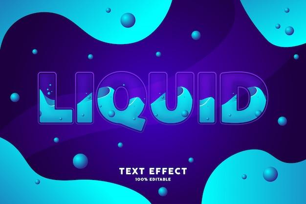 Effet De Texte De Style Liquide Bleu Violet Frais Vecteur Premium
