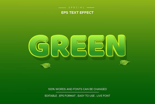 Effet De Texte Vert Vecteur Premium