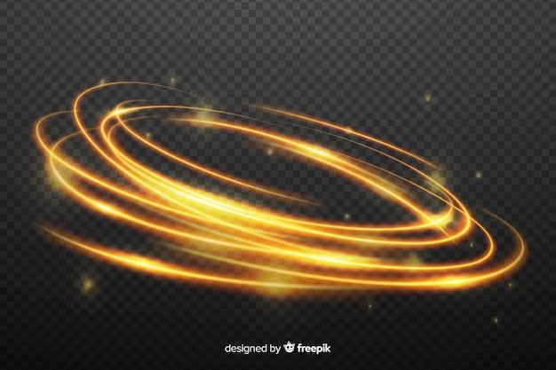 Effet de tourbillon abstrait de lumière dorée Vecteur gratuit