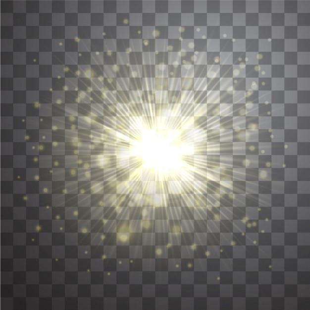 Effet de vecteur de la lentille d'or flare sunburst sur fond transparent Vecteur gratuit