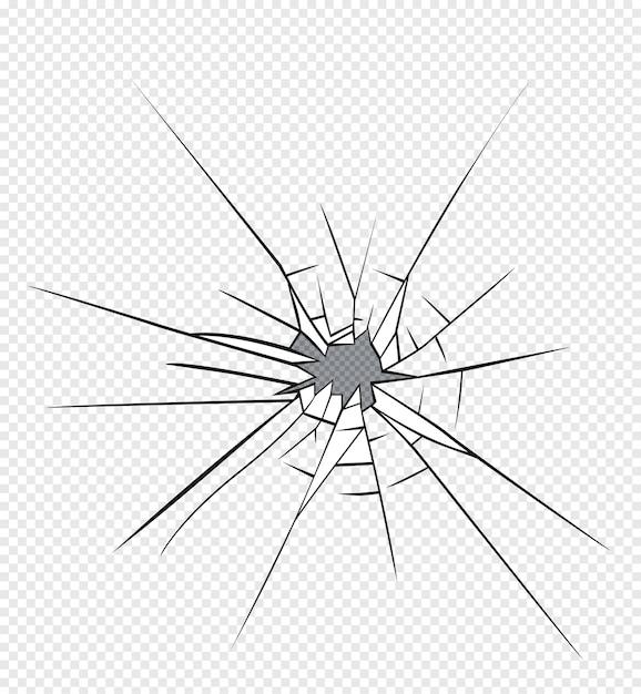 Effet de verre brisé. trou dans le verre brisé Vecteur Premium
