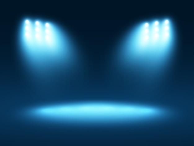 Effets De Lumière Abstraite Fond Bleu Avec Quelques Projecteurs Vecteur Premium
