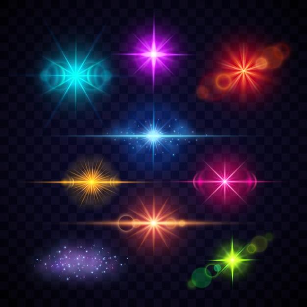 Effets de lumière flare lentille couleur réaliste, jeu de lumières de fête vecteur. éclairs multicolores illu Vecteur Premium