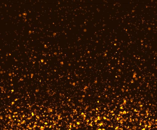 Effets de lumière rougeoyante, circulation de particules dorées Vecteur Premium