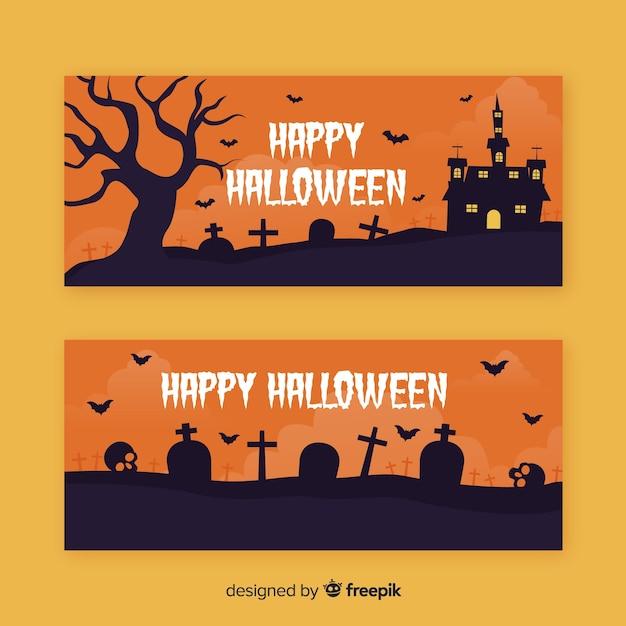 Église de cimetière dans les bannières de nuit plate halloween Vecteur gratuit