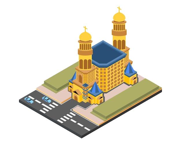 Église isométrique or, illustration vectorielle Vecteur Premium