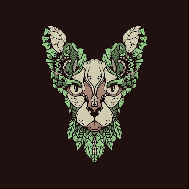 Egypte chat avec feuilles Vecteur Premium