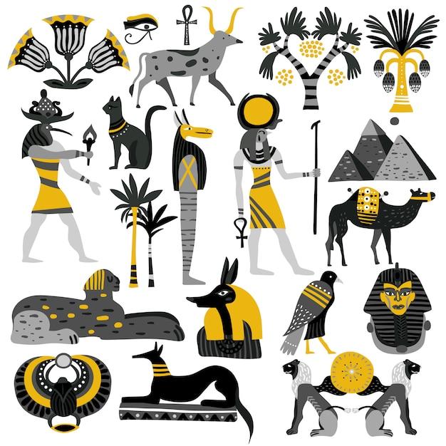 Egypte décoratif icons set Vecteur gratuit