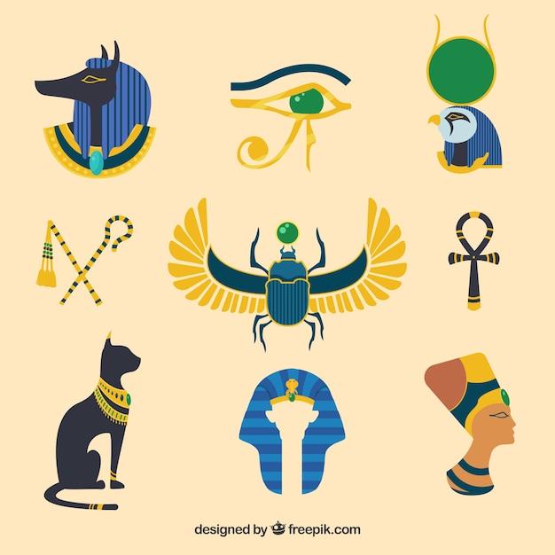 Egypte dieux et symboles collectio Vecteur gratuit