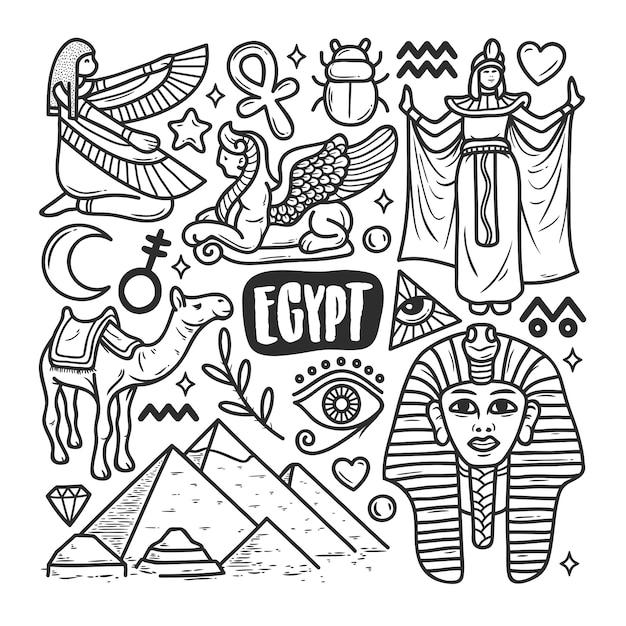 Égypte Icônes Dessinés à La Main Doodle Coloriage Vecteur gratuit