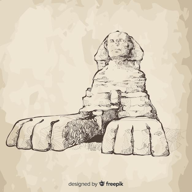 Égypte Sphinx Fond Style Dessiné à La Main Vecteur gratuit