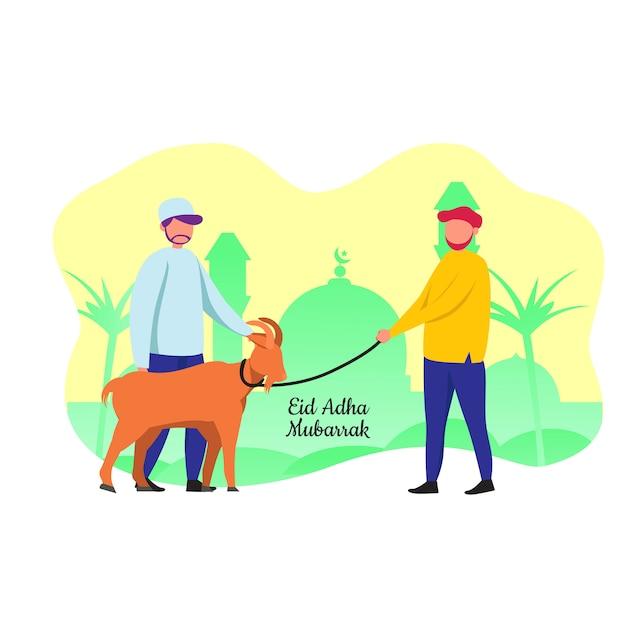 Eid adha mubarrak un musulman apporte une chèvre au festival sacrifié Vecteur Premium