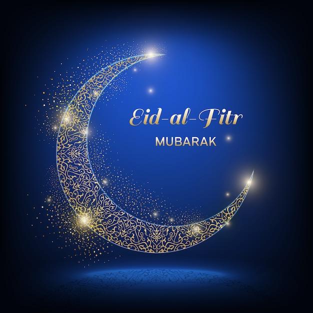 Eid-al-adha Mubarak - Fête Du Sacrifice. Lune Ornementale De Brillance Dorée Avec Ombre Et Inscription Eid-al-adha Mubarak Sur Fond Bleu Foncé. Vecteur Premium