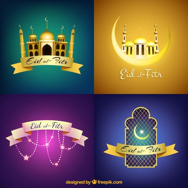 Eid Al-fitr Collection De Fond Vecteur gratuit